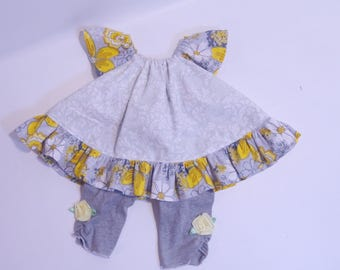 Newborn Girls Mixed-Print Gathered Skirt w/ Bloomers