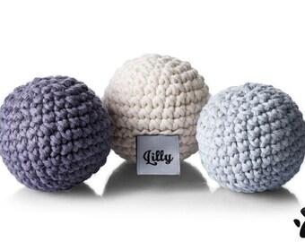 Rainbow Mini Set Cream - Organic Cotton Crochet Mini Balls Toy - Cats/Small Dogs