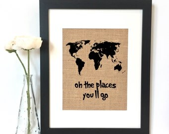 Oh the places you'll go World Map Print // Nursery // Nursery Decor // Boys Room Decor // Kids Room Decor // Dr. Seuss