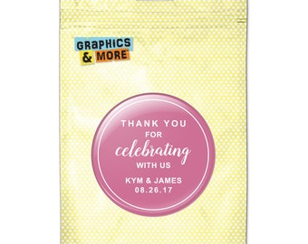 Pink Line Thank You Celebrating Us 2.25 Inch Diameter Personalized Custom Kitchen Refrigerator Locker Button Magnet