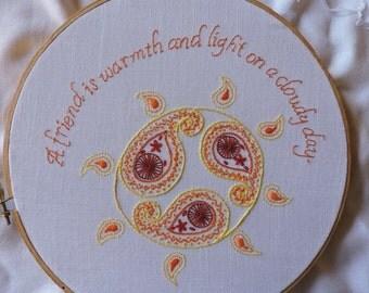 Friendship Embroidery Pattern, Friendship Hand-embroidery Pattern, Sun Embroidery Pattern