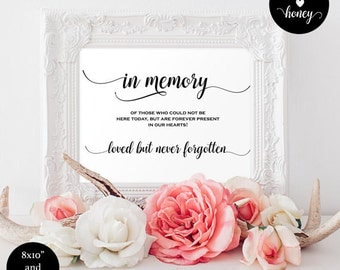 In loving memory wedding sign - wedding memory sign - heaven wedding sign - Wedding In Honor Of Sign - Downloadable wedding signs #WDH0059