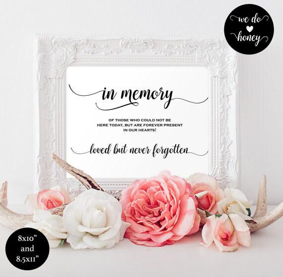 In loving memory wedding sign - wedding memory sign - heaven wedding sign - Wedding In Honor Of Sign - Downloadable wedding signs #WDH0059