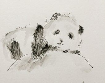 "Pen and ink, watercolor ""baby P"" Original"