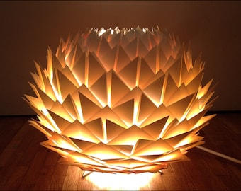 Lamp table/Nightlight in paper color ecru/ivory cream