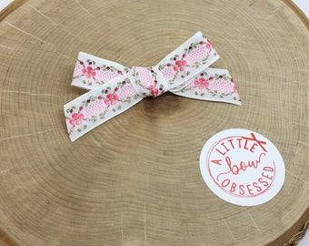 Vintage Pink Floral Ribbon Hair Bow, Single Bow or Pigtail Set, Girls Hair Bows