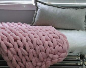 SPRING COLORS! Chunky Knit Blanket, Merino Wool Blanket, Hand Knit Blanket, Easter Colors!
