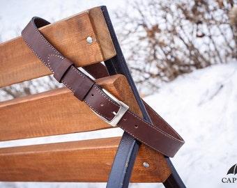 "Leather Belt ""Firewood"" (stitched), Full Grain Leather Belt, Brown Leather Belt, Mens Leather Belt, Womens Leather Belt"