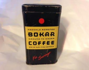 1930s Vintage Tin/Saving with Bokar Coffee - 1930s Premium Tin Savings Bank