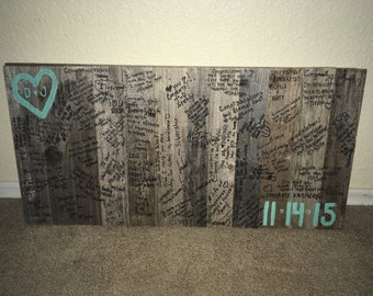Rustic wood guest book with 2 burlap pens