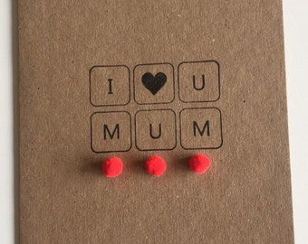Mother's Day I love you Mum blank inside greeting card