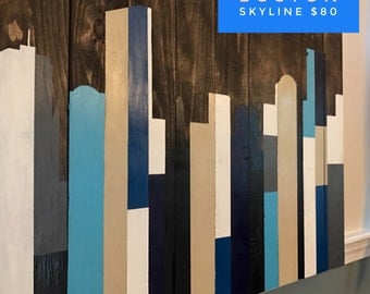Boston Skyline Reclaimed Wood Decor