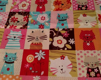 Cats and Flowers Fabric Beautiful Fun Colorful Designer Cotton 100% High Quality Cotton By the HALF Yard-Yardage