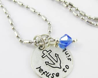 Refuse to Sink Charm Pendant Necklace 50cm Stainless Steel Select Crystal Colour