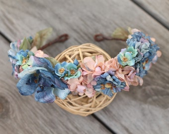 Blushing Blue Jay Crown, flower crown