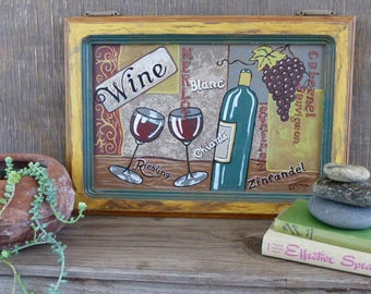 Wine art, Rustic wall decor, reclaimed materials, hand painted wall art, wine lover gift, kitchen and dining decor, hostess gift,