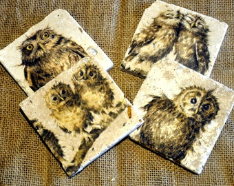 Set of Four Owl Natural Stone Coasters