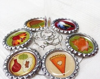 Thanksgiving Dinner Table Wine Charms