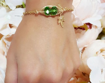 2 Peas In A Pod Bracelet with Vine and Leaf, 8mm Dia Swarovski Crystal Peapod Bracelet, Birthstone May Emerald Peas in a pod Bracelet