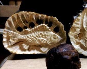"Handmade by horn carving. Elk Horn. ""Ruff"" Fish."