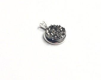 Necklace - Gun Metal Druzy