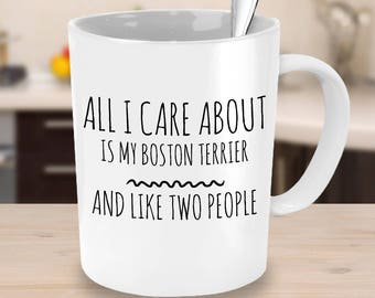 Boston Terrier Mug - All I Care About Is My Boston Terrier And Like Two People - Boston Terrier Gift - Boston Terrier Mom Cup
