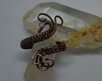 Hand Crafted Wire Weave Sleeve Copper Ring - Size 8 ,wire weave,ring,beautiful handmade jewelry