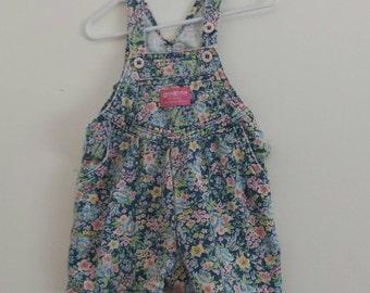 KIDS VINTAGE: 90s floral pastel pleated osh kosh shortalls