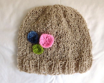 Beige Knit Hat with Flower Accent