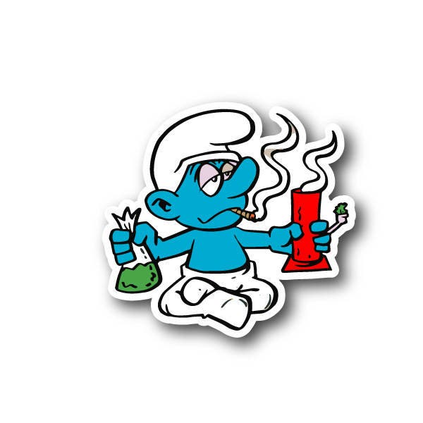 Cartoon Blue Creature Smoking Pot With Bong And Weed Vinyl