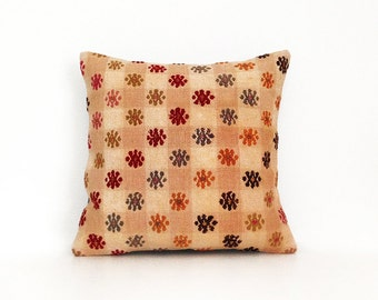 Anatolian Kilim Pillow Cover - Handwoven Vintage Colorful Bohemian Chevron Multicolor Throw Pillow Cover 16x16 Pillow Throw Accent Pillow