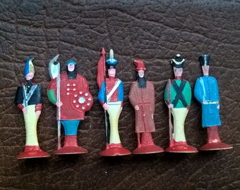 """Rare 60's Set 6 x Vintage USSR """"Russian Soldiers"""" Toys"""