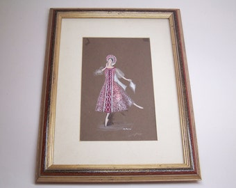 vintage original painting, a woman dancing, framed and signed