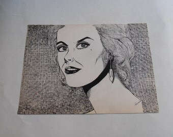 70's original lady portrait pen drawing, signed