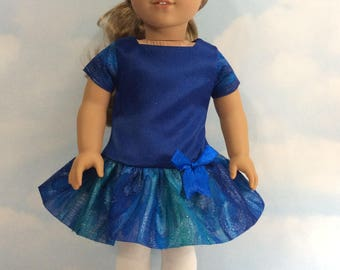 "Sapphire blue satin party dress for 18"" doll"