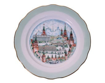 Vintage Porcelain Moscow USSR Collection Plate Wall Collector's items Soviet Art
