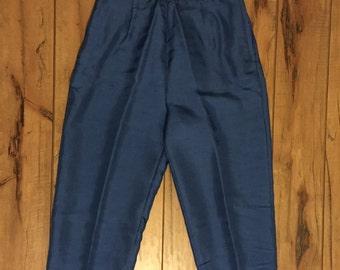 Royal Blue Silk Capri Pants