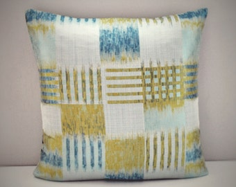 Abstract checked seafoam teal and yellow cushion cover