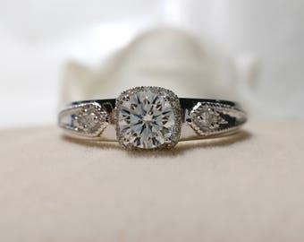0.5 carat Forever Brilliant Moissanite Cushion shaped Halo Engagement ring  Bridal Ring,Diamond Alternative engagement ring
