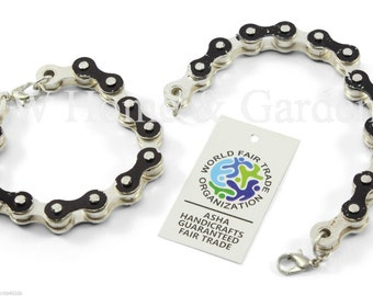 Chain bracelet recycled bicycle chain bracelet handmade unusual bicycle gift x 2