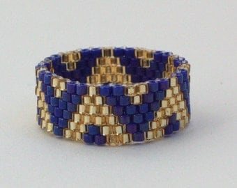 Ethnic ring blue-gold