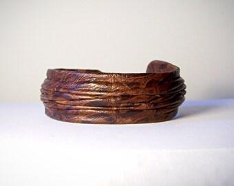 Genuine leather adjustable bracelet cuff. Brown leather bracelet, statement bracelet. Bohemianl leather bracelet. Hippie bracelet cuff.