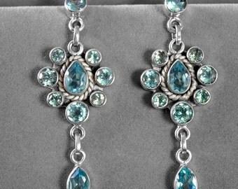 Multi Blue Topaz Gemstone Sterling Silver Dangle Drop Pierced Earrings fe955