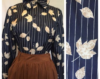 Navy Bow Leaf Blouse with Pinstripes and Leaves. Size medium