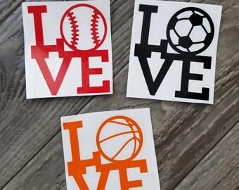 I Love Baseball, Soccer and Basketball Vinyl Decal