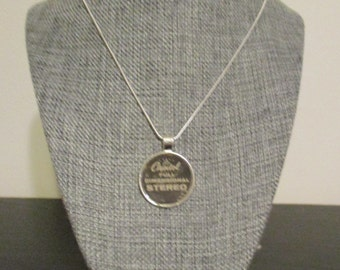 """Recycled vinyl record sleeve necklace - """"Capitol Records!"""""""