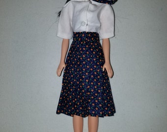 Barbie pleated skirt with white blouse