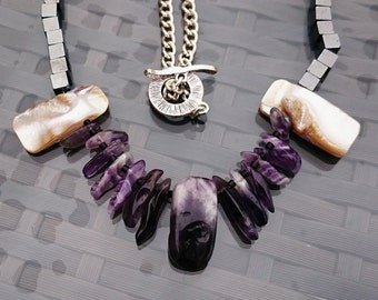 Amethyst shells necklace