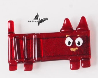 Handmade glass Magnet on the fridge Red Funny Cat, fused glass magnet
