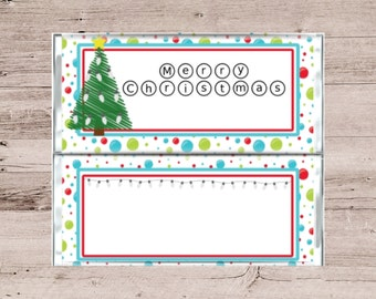 Merry Christmas Candy Bar Wrapper-Merry Christmas Chocolate Bar Wrapper-Custom Candy Bar Wrapper-Personalized Candy Wrapper-Candy Wrapper